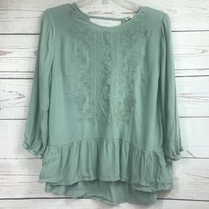 Teal boho top with cute embroidery design